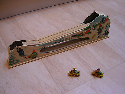 Vintage USSR Russian Clockwork Wind Up Tin Plate Lithographed TOBOGGAN Run Toy