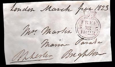 GB 1823 Free Frank Front signed  B L LESTER MP for Poole,Newfoundland connection