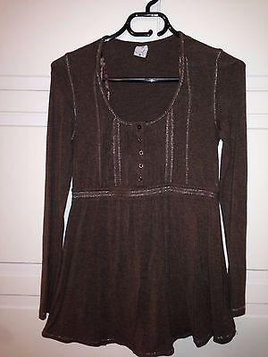 Brown Long Sleeve maternity top silver stitching - Target - size 10