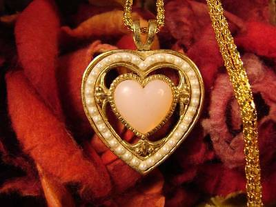 ~Gorgeous Pink & Pearl Heart Amulet & Spell Scroll~Attract Love~