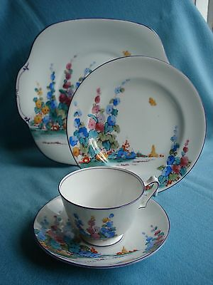 Beautiful Crown Staffordshire Vintage Tea Cup Saucer and Plate + Cake Plate