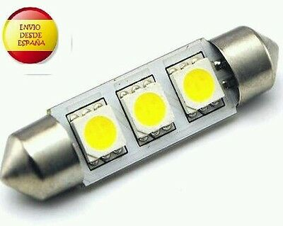 1X Bombilla Led C5W 39Mm Festoon 3 Led 5050 Blanco Xenon Coche Matricula
