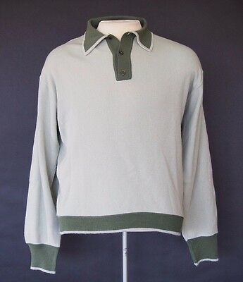 Vintage 1960s Green Acrylic Pullover Sweater Large