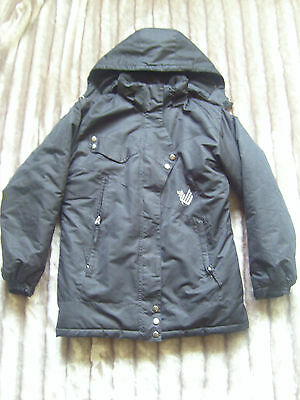 Girls black padded coat jacket detachable hood, age 14 years ideal for school