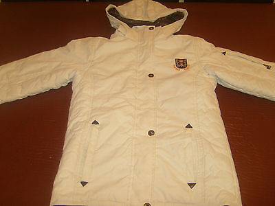 Girls padded coat in winter white, size 10-12 years fur lined detachable hood