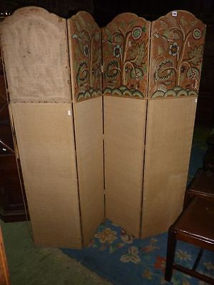 Antique four fold fabric covered dressing screen for recovering