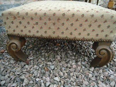 Antique French oak carved low footstool with padded top for upholstery project