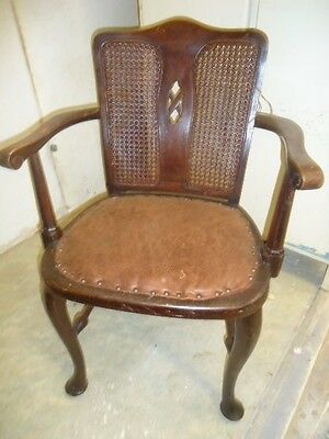 Antique Edwardian mahogany cane backed pad seat armchair for upholstery