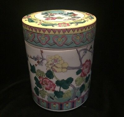 Chinese Famille Rose Porcelain Floral Covered Tea Caddy Tobacco Jar
