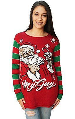 Ugly Christmas Sweater Women's Santa's Martini My Guy Sweater Cayenne L Pullover