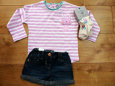 Bnwt Next Stripe Top, Tights & Shorts Set Size 2-3 Years
