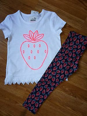 Bnwt Next Strawberry Top And Leggings Set Size 3-4 Years