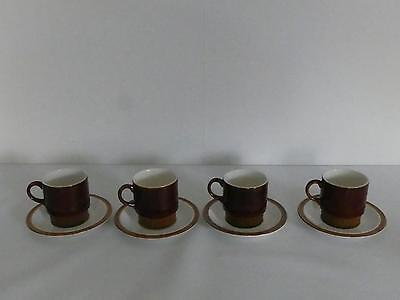 (Ref237) Poole Pottery Brown Chestnut Tea Cups and Saucers Set of 4