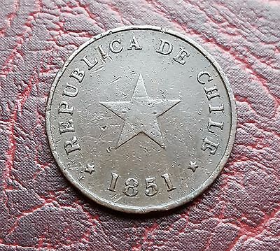 (L1) Chile 1851 (Variant) ½ Centavo coin KM# 117.3