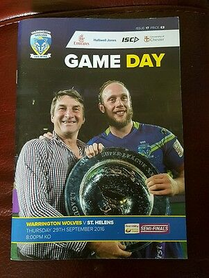 Warrington Wolves vs. St. Helens - 29/9/2016