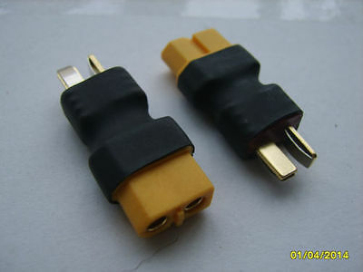 1 x XT60 Female to Deans T Plug Male Connector Converter Adapter - UK