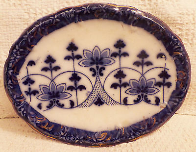 Flow Blue Pot Stand England Arts & Crafts Floral Oval Blue & White Very Good