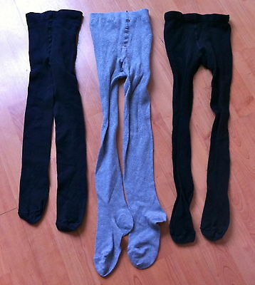 (M) Set of 3 pairs of cotton rich tights for girls - 7-8 years, blue/grey - L@@K