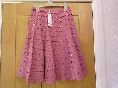 BNWT Monsoon girl pink cotton skirt, beaded, age 10-12 years RRP £32