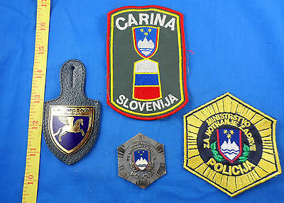 Vintage Slovenia Police Badge Lot Of 2 Plus Two Patches