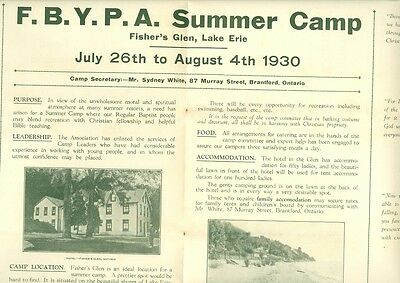 Fellowship Baptist Youth Summer Camp Ad 1930 & 1935