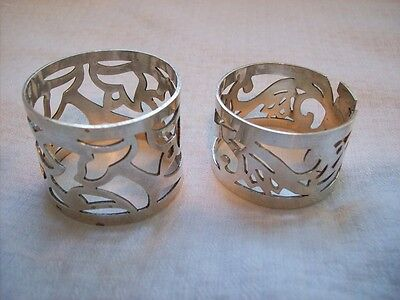 Vintage Sterling Silver Napkin Rings Set of Two