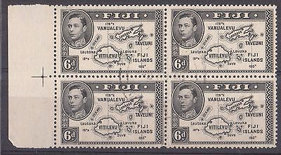 FIJI  1938 6d Marginal Block of Four Lightly Used