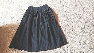 """Vtg 80's Pencil Pleat 100% Wool Black"""" Prophecy"""" Mid-Calf Holiday Skirt Size 10"""