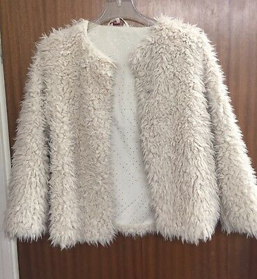 Girls Cream Faux Sheep Fur Coat. 11-12yrs