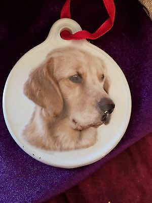 Golden Retriever Round Porcelain Ornament With Red Ribbon Cream Color 3D Effect