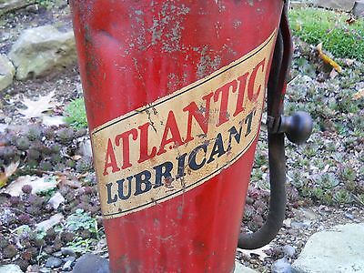 Atlantic Lubricant Oil Dispenser Pump Oil Can Gas Station Man Cave Garage