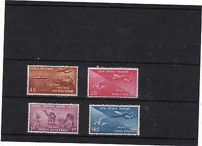 India - 1954 Stamp Centenary Set 4  Heavily Mounted Mint