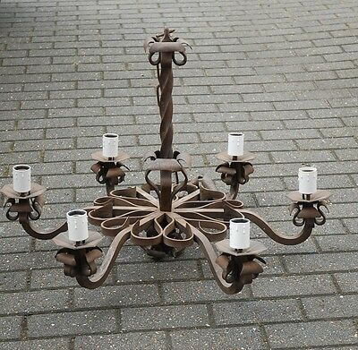 Heavy Quality Wrought Iron Art 6-light Chandelier Floral Disign