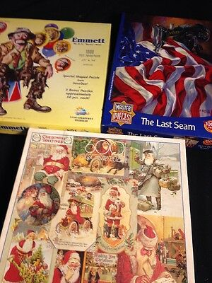 (3) Puzzle Lot - 600 1000 Piece F.X. Schmid Christmas SunsOut Emmett Clown X672