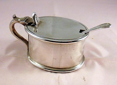 Antique Silver Plate Mustard Pot with Blue Glass Liner JB Silvester
