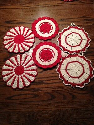 Gorgeous Vintage Crocheted Red Pot Holder Sets Holiday