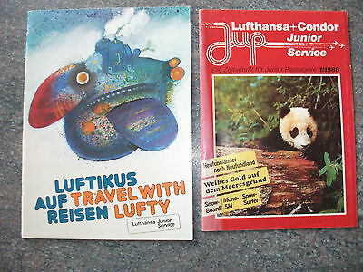 Rare Lufthansa Inflight Magazine for Children x 2. German & English. 1986 & 1988