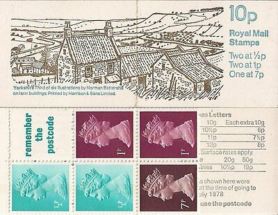 1978 Gb Qeii Post Office 10P Machin Definitive Stamp Booklet Sg Fa6 Yorkshire