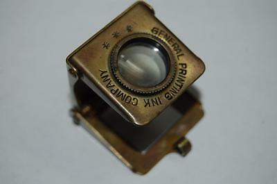 Antique Miniature Brass Thread Counter Magnifying General printing Ink Germany