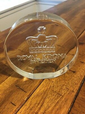 Royal Krona Sweden Round Clear Glass Paperweight