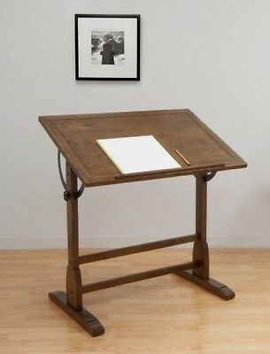Vintage Drafting Table Adjustable Art Work Drawing Desk Board Rustic Oak Wood