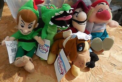 lot of 5 DISNEY Store Captain Hook Peter Pan Beanie Bean Toy Plush
