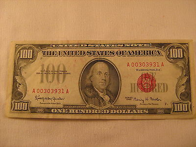 $100 series 1966 red seal bill 00303931A