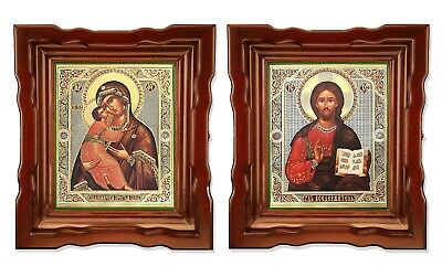 Pair Christ the Teacher and Virgin of Vladimir Russian Orthodox Wedding Icons !!