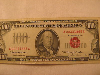 $100 series 1966 red seal bill 00331865A