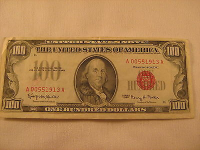 $100 series 1966 red seal bill 00551913A