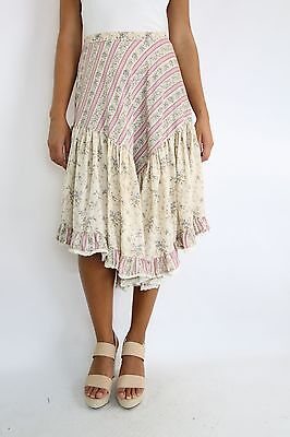 Vintage SALLY BROWNE Cream Floral Boho Skirt Size (XS/S)