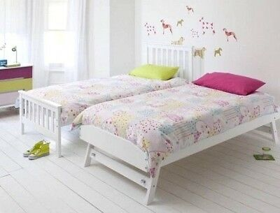 Solid Pine White Single Bed Trundle Guest Bed Childrens Teenagers Brand New