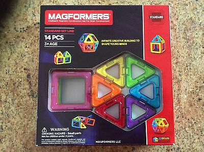 Magformers~14 Pc~6 Squares & 8 Triangles~NIB~Collectors~MAGNETIC~building set~