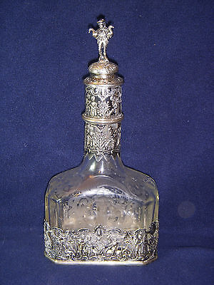 Storck & Sinsheimer Hanau Silver Mounted  Etched Art Glass Decanter 19th Century